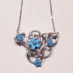 Wire Wrap Blue Flower Pendant